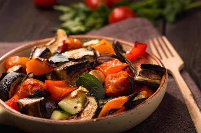 Roasted vegetable medley in a bowl.