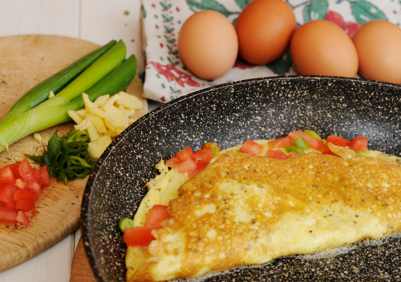 Tomatoes, cheese, omelette, eggs