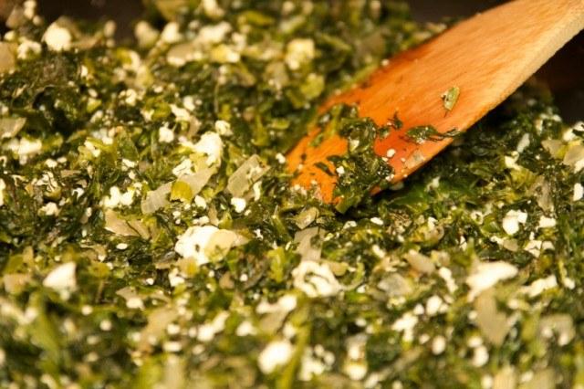 Sautéing, cooking, spinach