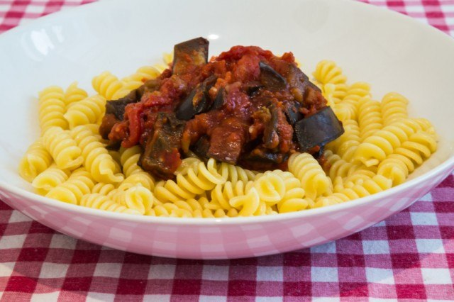 pasta topped with eggplant