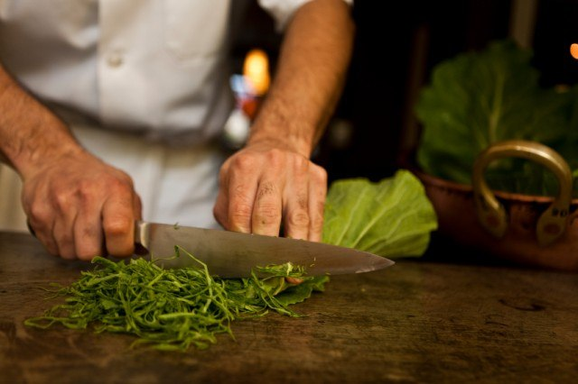Chopping kale, greens