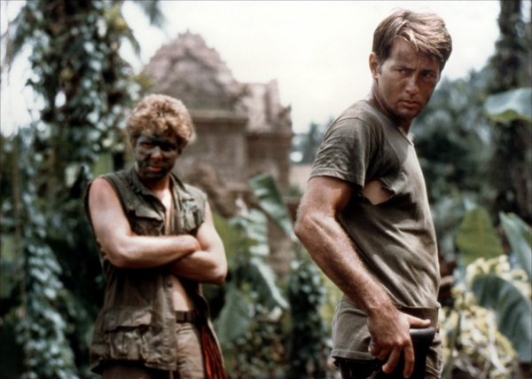 Martin Sheen wearing camouflage clothing in 'Apocalypse Now'.