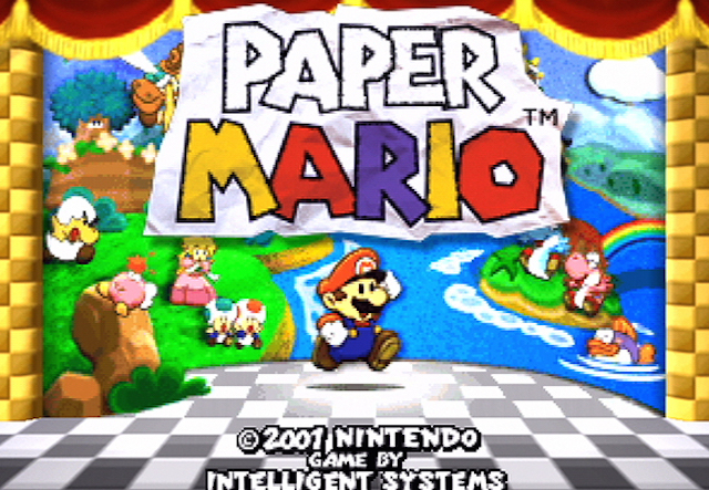 The start screen for the colorful role-playing game starring Mario.
