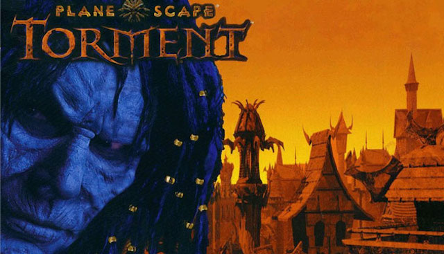 A blue-faced man stands in front of a village on the cover art for Planescape: Torment.