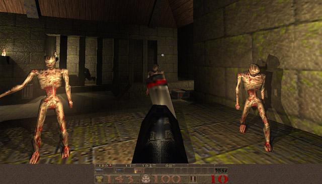 A screenshot from the 1996 PC game Quake.