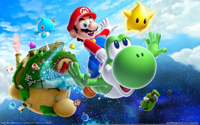 Mario soars through the air on a flying Yoshi.