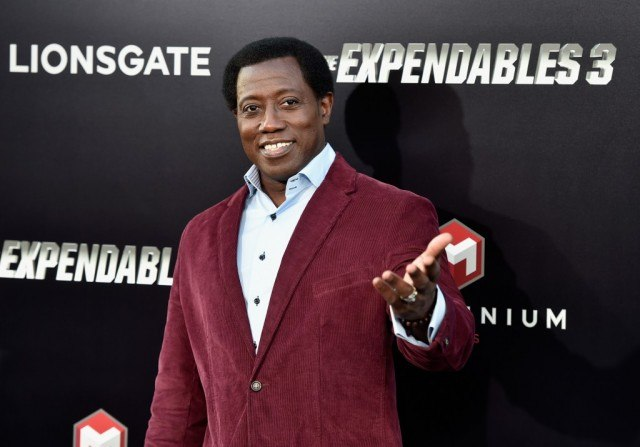 Wesley Snipes smiling and wearing a red jacket on a red carpet.