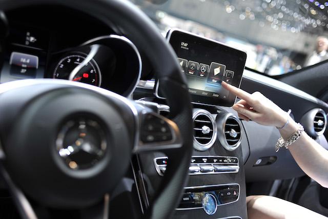 An Apple CarPlay screen is seen in a Mercedes-Benz car
