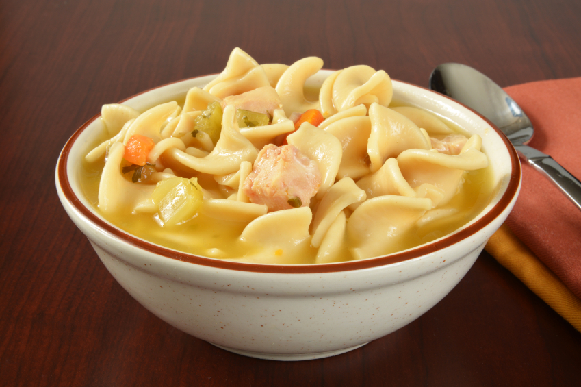 bowl of hearty chicken noodle soup