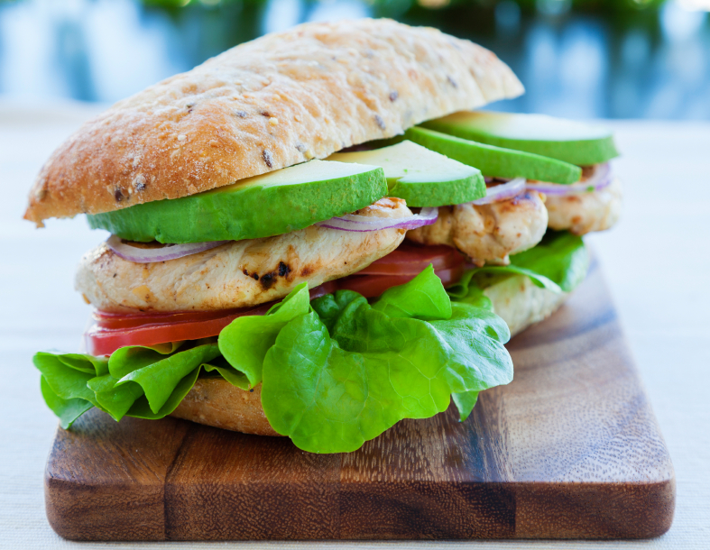 Grilled chicken sandwich with avocado