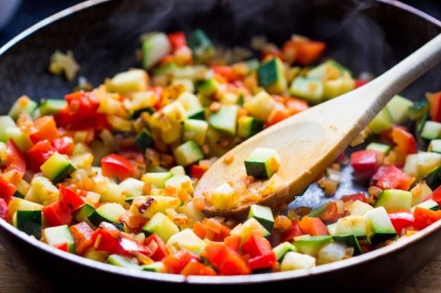 Cooking ratatouille, tomato, eggplant