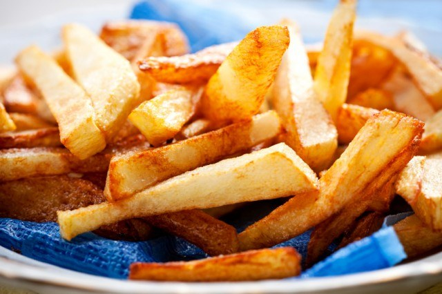 Golden and crispy french fries from a restaurant