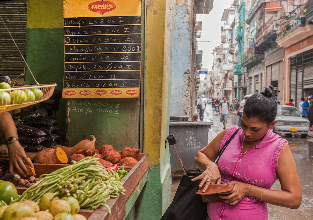 A woman buys vegetables in a green grocery in Havana, on August 7, 2013. In 1988 the average salary in Cuba was 187 Cuban pesos and now is 466 pesos (US$ 19), according to the National Statistics Office. Since then, the price of a pound of pork went from 4.5 to 35 pesos. (Photo by Str/AFP/Getty Images)