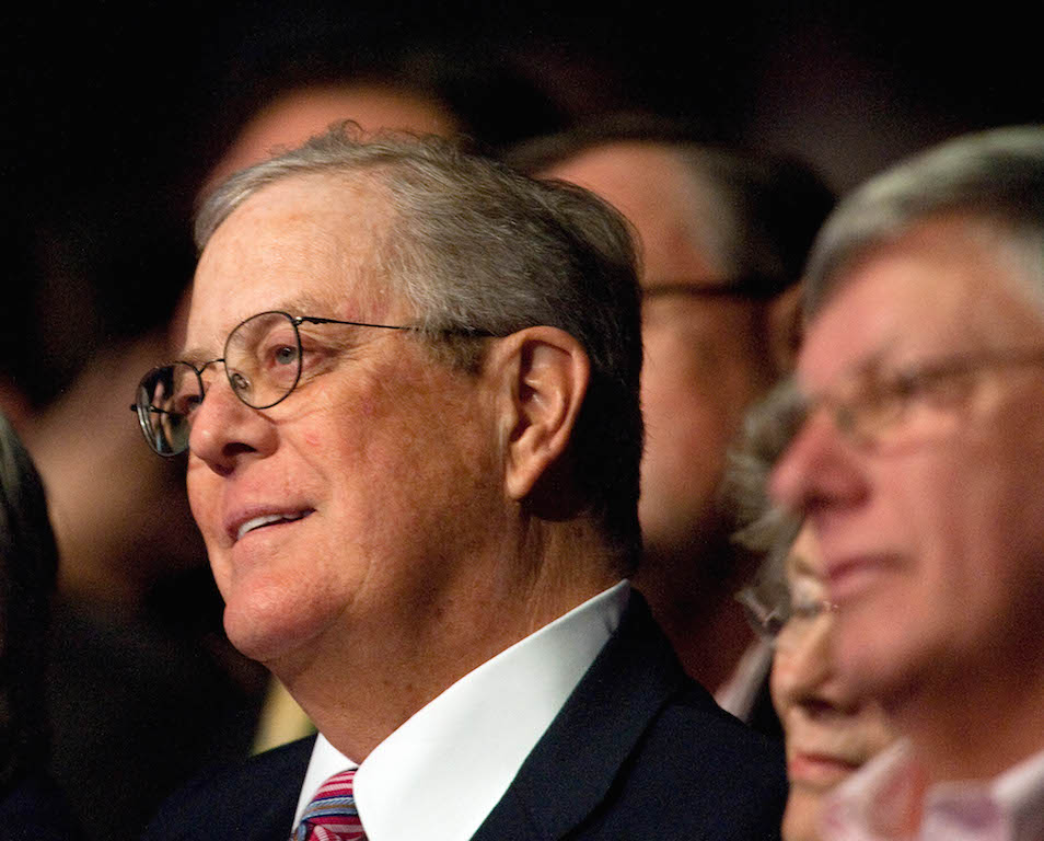 Billionaire David Koch, chairman of the board of the conservative Americans for Prosperity (AFP) advocacy group, attends a 'Cut Spending Now' rally at AFP's 'Defending the American Dream Summit' in Washington on November 5, 2011. Photo by Nicholas Kamm/AFP/Getty Images