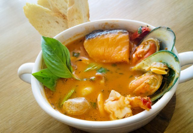 A homemade seafood stew