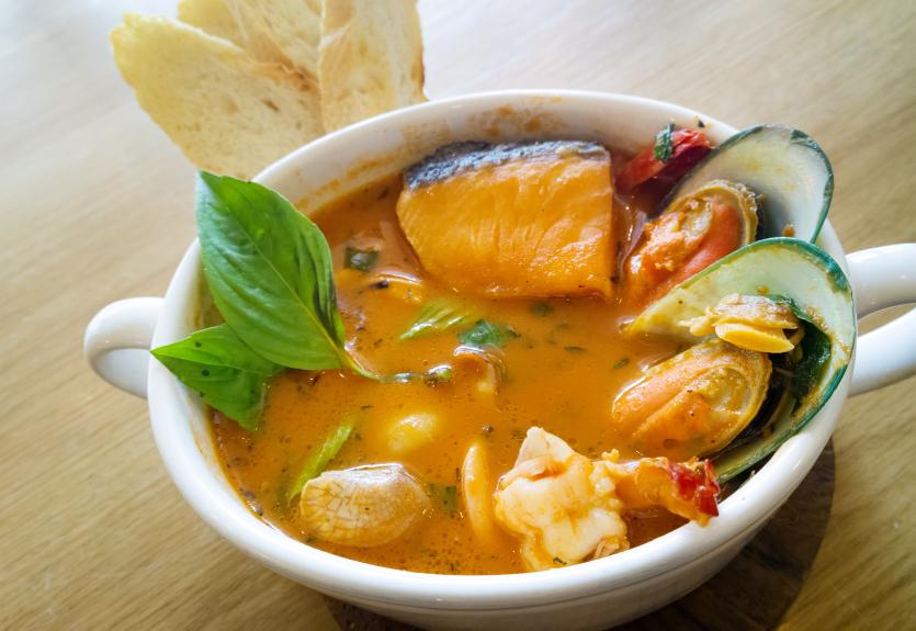 Delicious mediterranean seafood soup stew