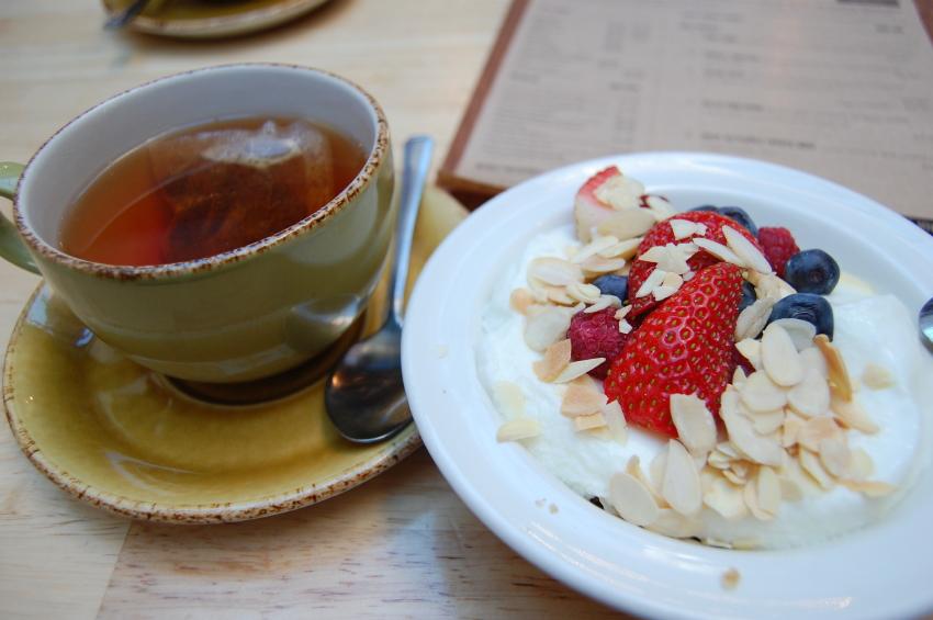 Yogurt Parfait, berries, almonds