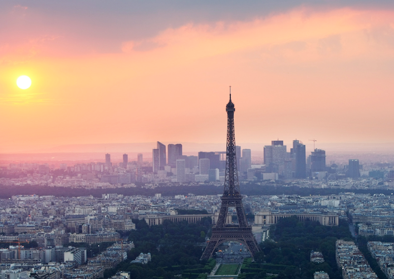 The Eiffel Tower seen on a sunny evening.