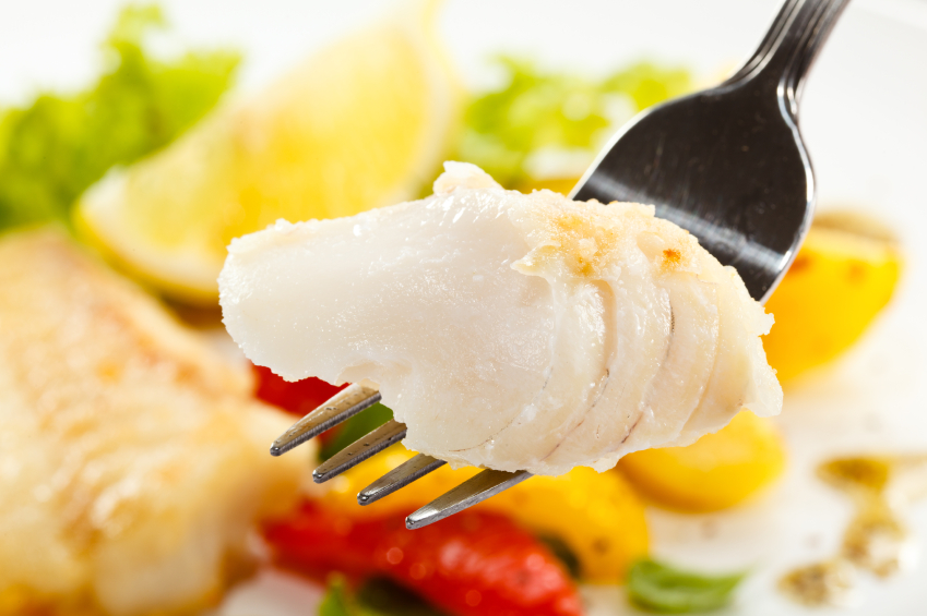 Cod, white fish, seafood, vegetables