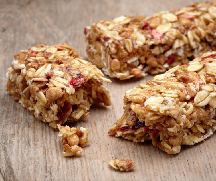 A fruit and nut granola bar
