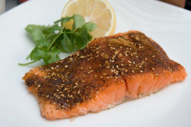 Grilled Salmon, cajun spiced fillet, lemon and cilantro