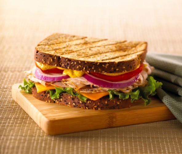 sandwich with turkey and ham