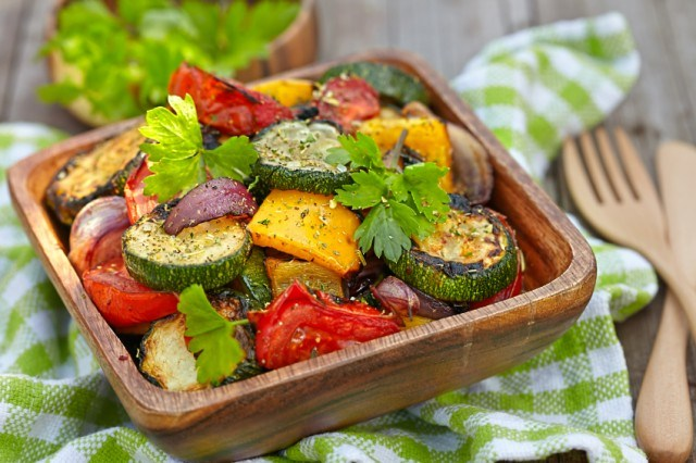 Grilled vegetables, zucchini, eggplant, onions, pepper, tomato