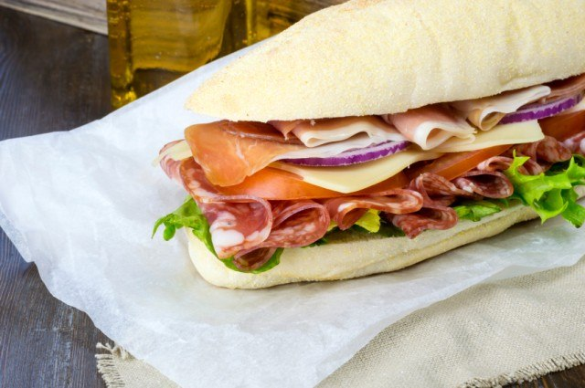 sandwich with cold cuts and vegetables