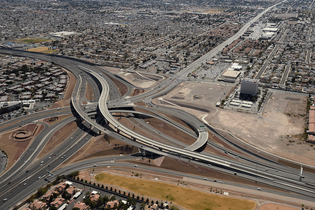 The interchange at U.S. Route 95 and Rainbow Boulevard known as the Rainbow Curve is seen in an aerial view on February 20, 2014 in Las Vegas, Nevada. (Photo by Ethan Miller/Getty Images)
