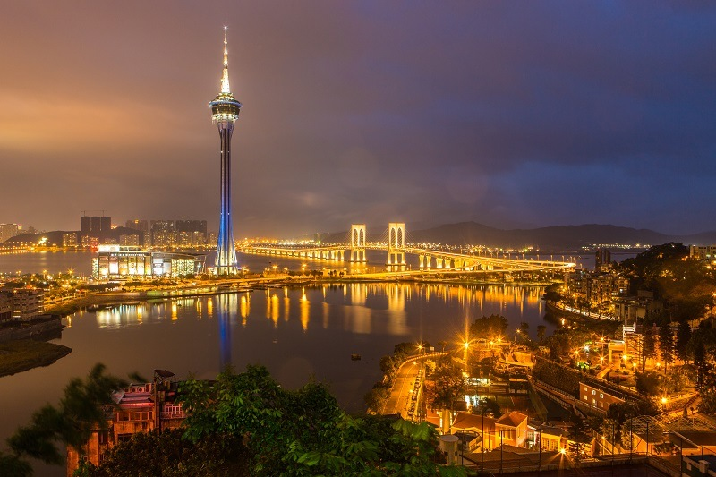 The Macau Tower is seen from a vantage point at Penha Chapel