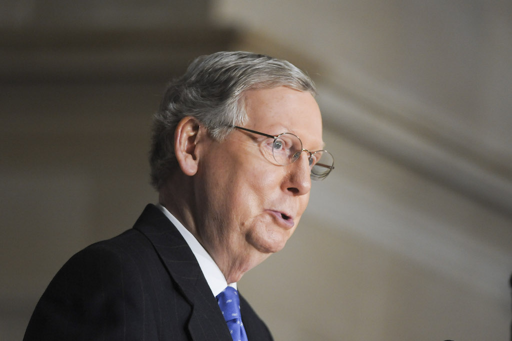 Mitch McConnell speaks during the Congressional dedication of the bust of Winston Churchill on October 30, 2013 in Washington, DC. (Photo by Kris Connor/Getty Images)