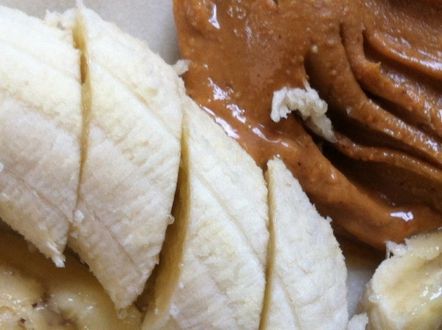 peanut butter, almond butter, sliced banana