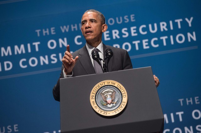 US President Barack Obama speaks at the White House Summit on Cybersecurity and Consumer Protection at Stanford University in Palo Alto on February 13, 2015. (Photo by Nicholas Kamm/AFP/Getty Images)
