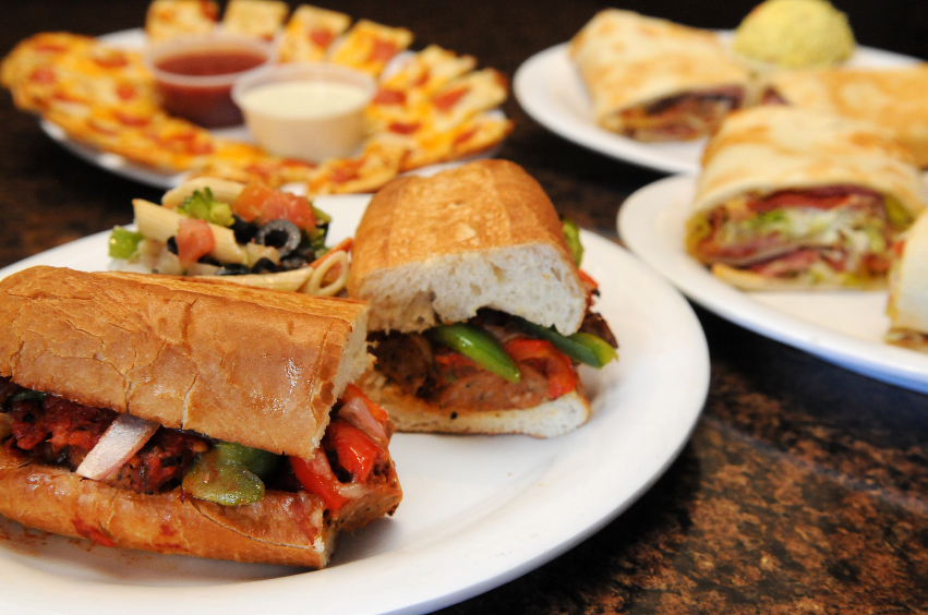 sandwich sub with olives and red pepper