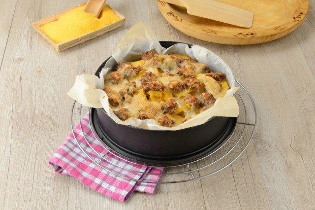 Polenta, cheese, sausage casserole