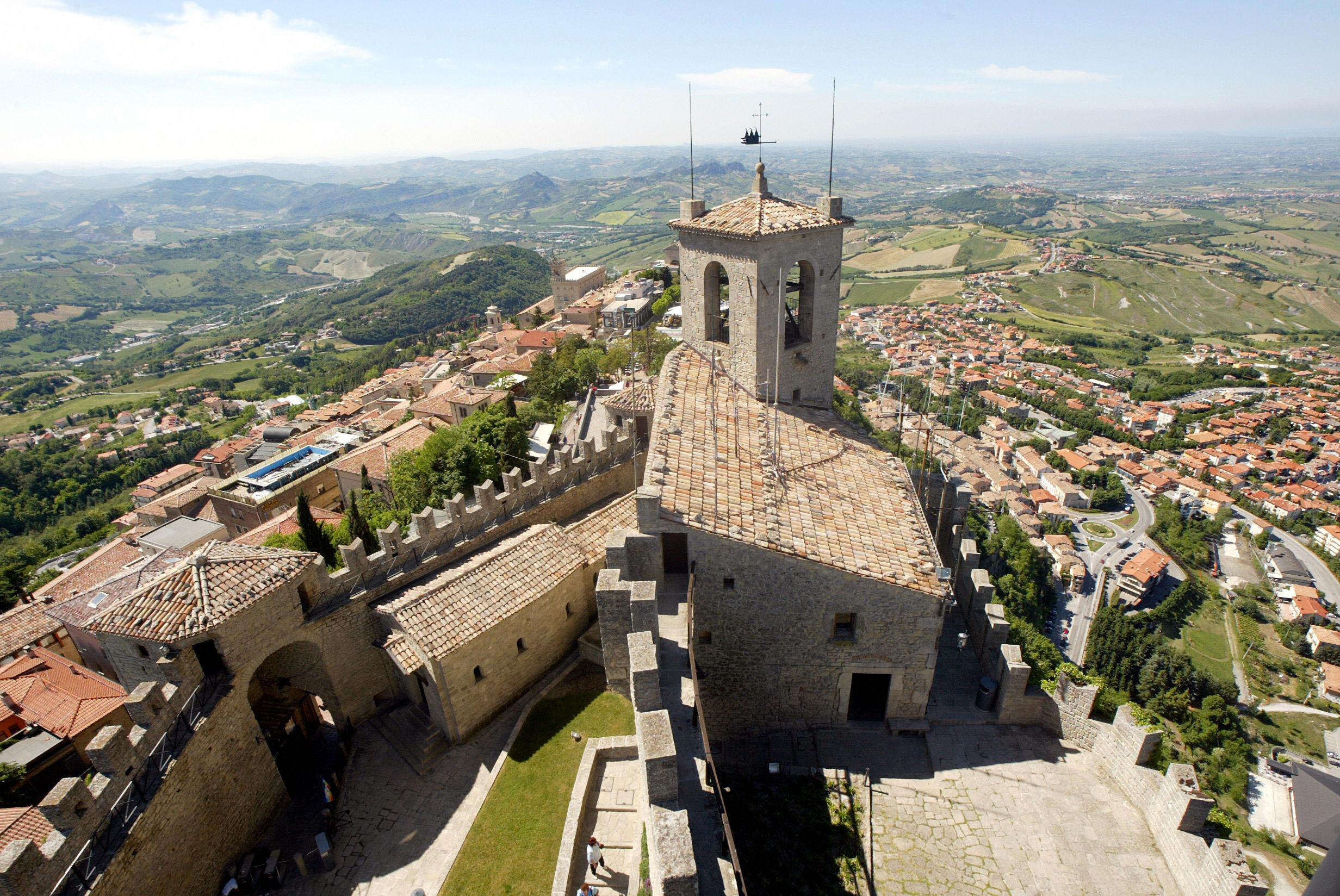 La Guaita guarding over the walled enclosure of historic San Marino
