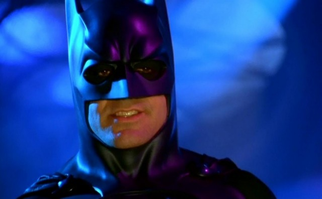 George Clooney dons a Batman suit in Batman and Robin