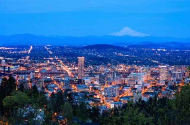 Portland, Oregon and Mt. Hood, a city that's reaping the rewards of marijuana legalization