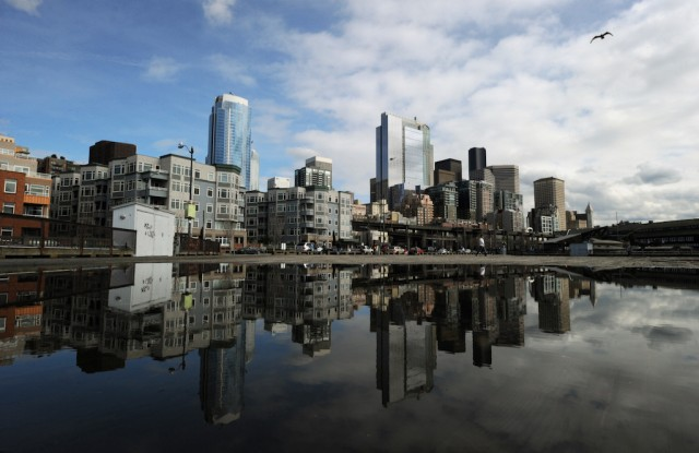View of the skyline in the city of Seattle, Washington state on March 22, 2011. Seattle is the northernmost major city in the contiguous United States, and the largest city in the Pacific Northwest. The city is home to corporations such as Boeing, Starbucks and Microsoft. Photo by Mark Ralston/AFP/Getty Images