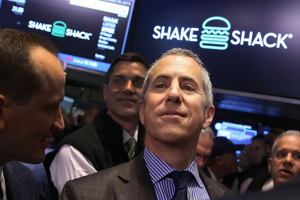 Founder and Chairman of Shake Shack, Danny Meyer, visits the floor of the New York Stock Exchange on January 30, 2015 in New York City. Hamburger chain Shake Shack rose more than 130 percent in its trading debut on the exchange Friday. Shares for the New York based burger chain opened at $47 and quickly climbed above $52 before dipping back to $48.77 for a 132 percent advance.  (Photo by Spencer Platt/Getty Images)