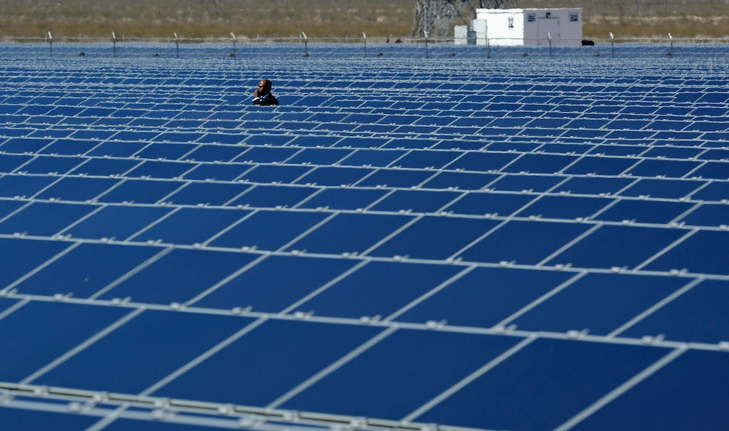 A Secret Service agent is seen at Sempra U.S. Gas & Power's Copper Mountain Solar 1 facility bfeore a speech by U.S. President Barack Obama at the largest photovoltaic solar plant in the United States on March 21, 2012 in Boulder City, Nevada. Obama is on a four-state tour promoting his energy policies. (Photo by Ethan Miller/Getty Images)