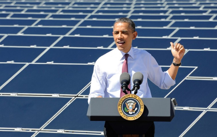 U.S. President Barack Obama speaks at Sempra U.S. Gas & Power's Copper Mountain Solar 1 facility, the largest photovoltaic solar plant in the United States on March 21, 2012 in Boulder City, Nevada. Obama is on a four-state tour promoting his energy policies. (Photo by Ethan Miller/Getty Images)