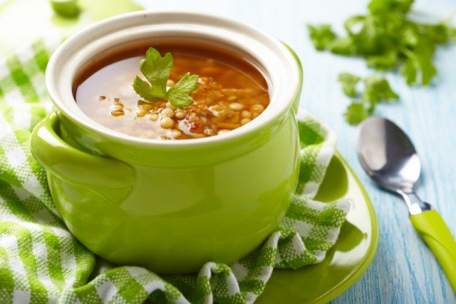 Soup with red lentil, pasta and vegetables
