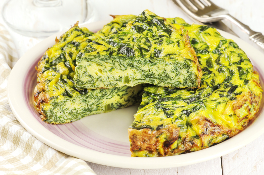 Spinach omelet, frittata, eggs