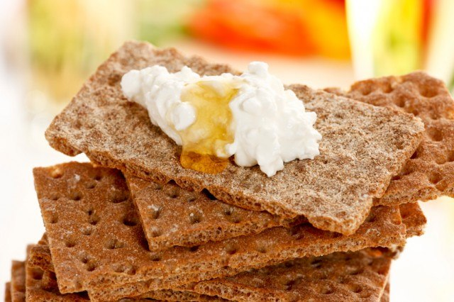 Cracker, cream cheese, honey