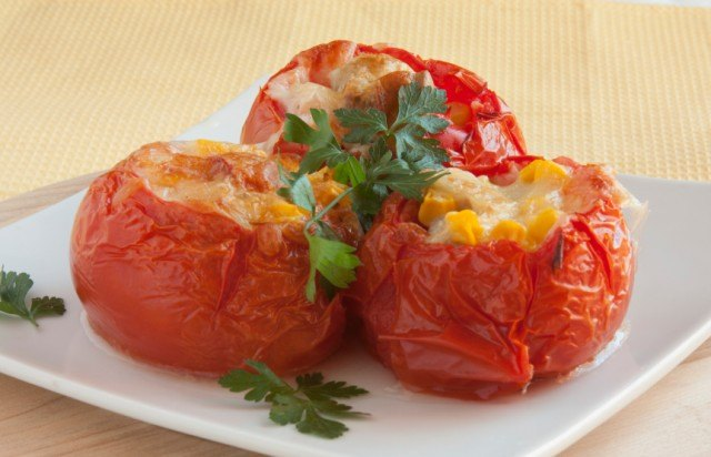 Stuffed tomatoes, corn, cheese