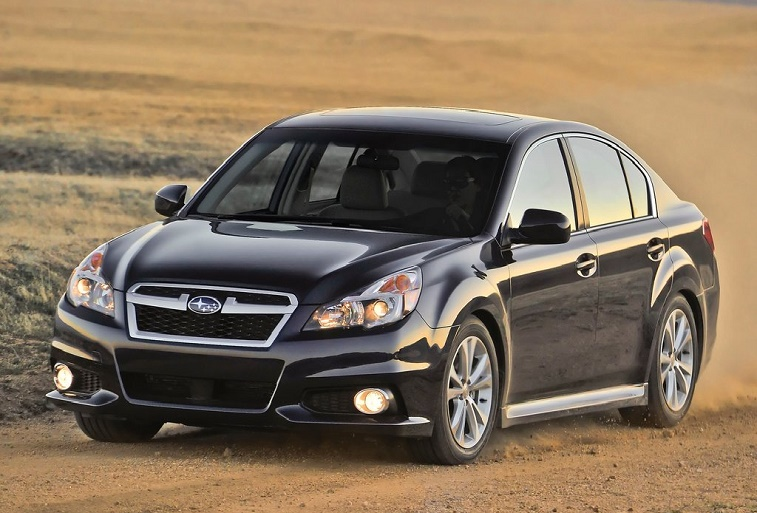 A black Subaru Legacy from the 2013 model year