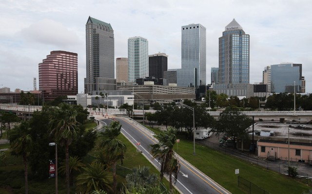 A general view of the skyline ahead of the Republican National Convention being held at the Tampa Bay Times Forum on August 26, 2012 in Tampa, Florida. The RNC is scheduled to convene on August 27 and will hold its first session on August 28 as Tropical Storm Isaac threatens disruptions due to its proximity to the Florida peninsula. (Photo by Scott Olson/Getty Images)