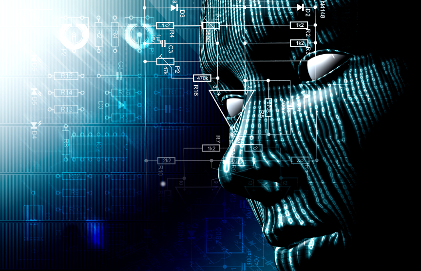 Information and data form a human face
