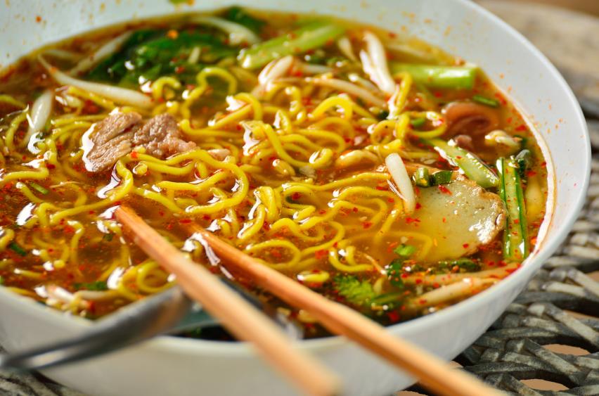 bowl of ramen with chopsticks